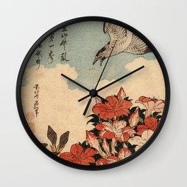 Hokusai Cuckoo and azaleas -hokusai,manga,japan,Katsushika,cuckoo,azaleas,Rhododendron Wall Clock