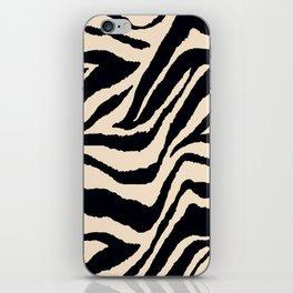 Zebra Animal Print Black and off White Pattern iPhone Skin