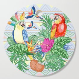 Macaws Parrots Exotic Birds on Tropical Flowers and Leaves Cutting Board