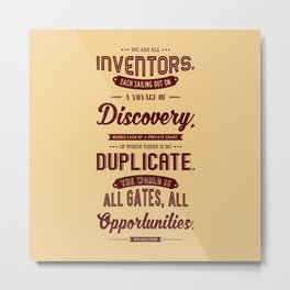 Lab No. 4 We Are All Inventors Ralph Waldo Emerson Inspirational Quote Metal Print