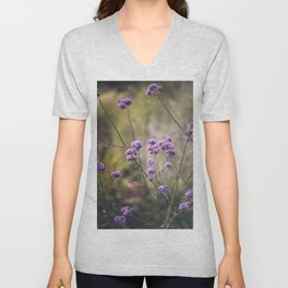 Purple wild flowers Unisex V-Neck