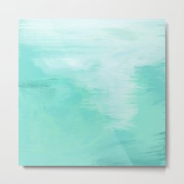 Teal and White Abstract Metal Print