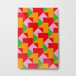 Green red Orange pink coloured mosaic with edges and squares and rectangular shapes and others Metal Print