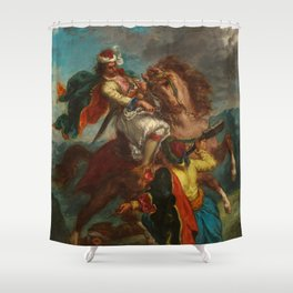 "Eugène Delacroix ""Greek horseman and an Ottoman Turk"" Shower Curtain"