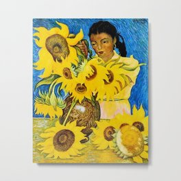 Girl with Sunflowers portrait painting by Diego Rivera Metal Print