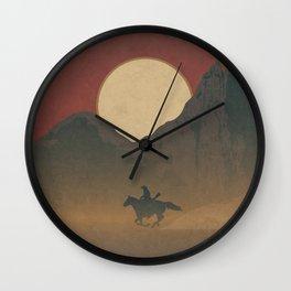 Roaming Paladin: Red Dusk, Cowboy On Horseback Western Sunset Wall Clock