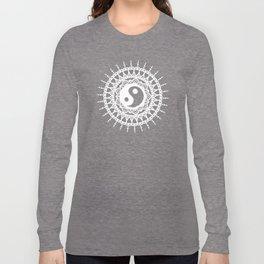 Yin Yang Mandala / White Mandala over stars Long Sleeve T-shirt