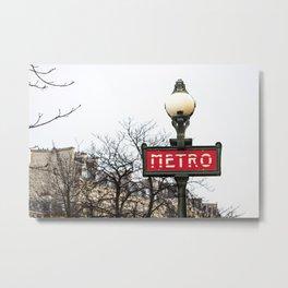 Paris Metropolitan Sign in Red Metal Print