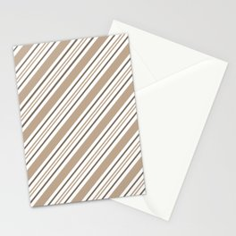 Pantone Hazelnut Nutmeg and White Thick and Thin Angled Lines - Stripes Stationery Cards