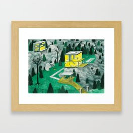 Night Houses Framed Art Print