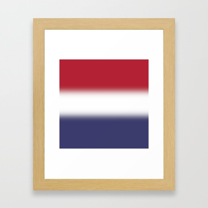 Red White and Blue Gradient Ombré Framed Art Print