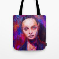 cyarin Tote Bags featuring Sad eyes by Gyossaith