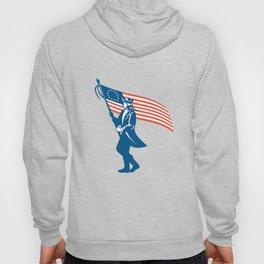 American Serviceman Soldier Waving Flag Retro Hoody