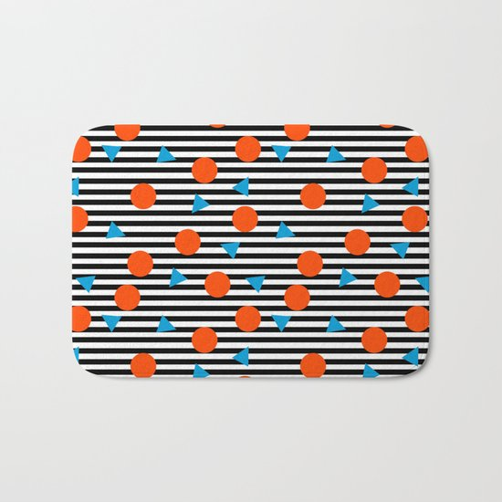 Yadda Yadda - memphis lines stripes dots triangles geometric abstract minimal print pattern wacka yo Bath Mat