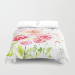 Watercolor Pink Poppies Duvet Cover