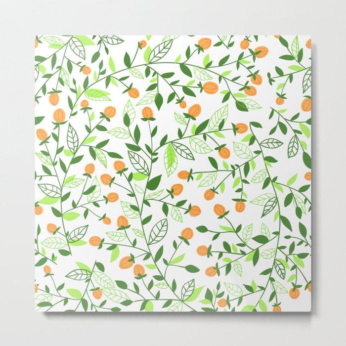 Floral doodles green and orange Metal Print