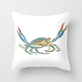 Colorful Blue Crab Throw Pillow