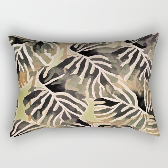 Vintage Leaf Abstract Rectangular Pillow