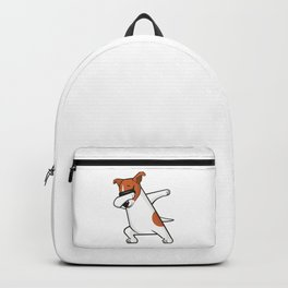 Dabbing Jack Russell Dog. Funny, cool dancing puppy. Dab dance. Cartoon dog. Backpack