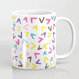 Heart shaped colourful confetti rain (LARGE pattern) Coffee Mug