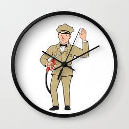 Gas Jockey Attendant Waving Isolated Cartoon Wall Clock