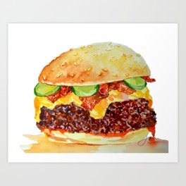 Bacon Double Cheeseburger Art Print