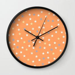 Peach Pastel Background With Stars Wall Clock