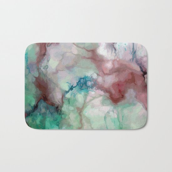 Colorful watercolor marble Bath Mat