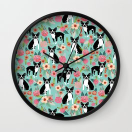 Floral Boston Terrier cute flowers spring bouquet love valentines day black and white mint dogs Wall Clock