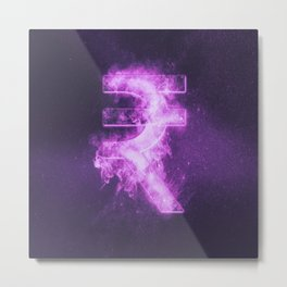 Indian Rupee sign, Indian Rupee symbol. Monetary currency symbol. Abstract night sky background. Metal Print
