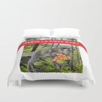 trex Duvet Covers featuring PIZZA TREX!! by anthonykun