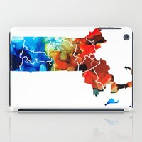 patriots iPad Cases featuring Massachusetts - Map Counties By Sharon Cummings by Sharon Cummings
