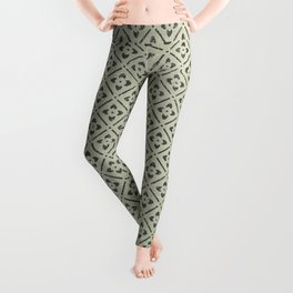 Vintage chic green black geometrical floral pattern Leggings