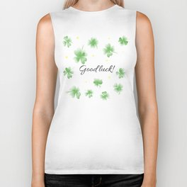 Four leaf clover design,good luck Biker Tank