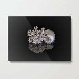 Pearl Nautilus with Elkhorn Metal Print