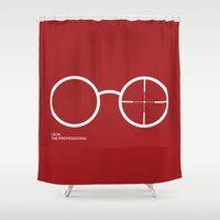 leon Shower Curtains featuring Leon The Professional - movie art by Kate Syska Design