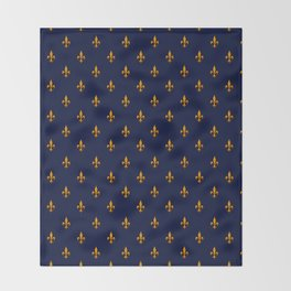 Blue & Gold Fleur-de-Lis Pattern Throw Blanket