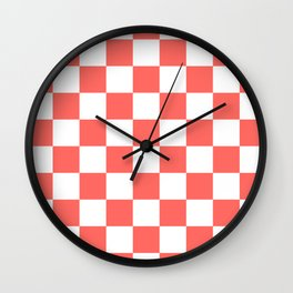 Checkered - White and Pastel Red Wall Clock