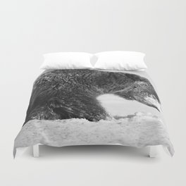 Alaskan Grizzly Bear in Snow, B & W - I Duvet Cover