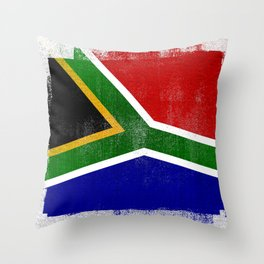 South African Distressed Halftone Denim Flag Throw Pillow