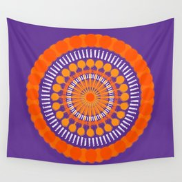 Rough Orange Mandala Wall Tapestry