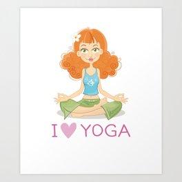 Cute Yoga Girl Sitting in Lotus Pose Art Print