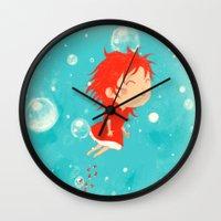 ponyo Wall Clocks featuring Ponyo by Peerro