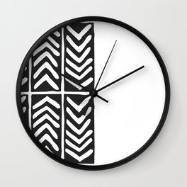 Tribal Print B&W- 03 Wall Clock