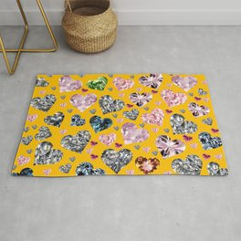 Heart Diamonds are Forever Love Yellow Rug
