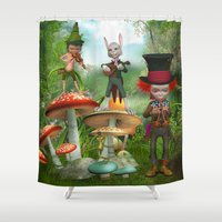 concert Shower Curtains featuring Night Concert by Simone Gatterwe