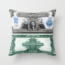 1899 U.S. Federal Reserve Two Dollar Bank Note Silver Certificate Throw Pillow