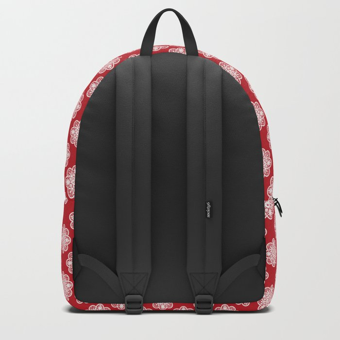 Floral Doily Pattern | Red and White Backpack