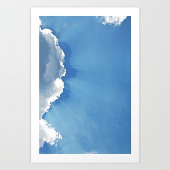 Sun rays behind Clouds Art Print