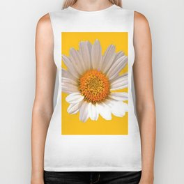 DECORATIVE MUSTARD YELLOW MODERN DAISY ART Biker Tank